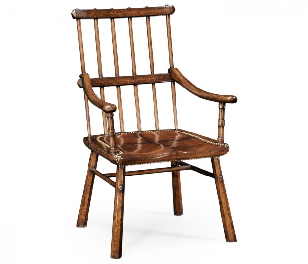 Rustic Dark Oak Country Armchair with A Dark Antique Chestnut Leather Seat