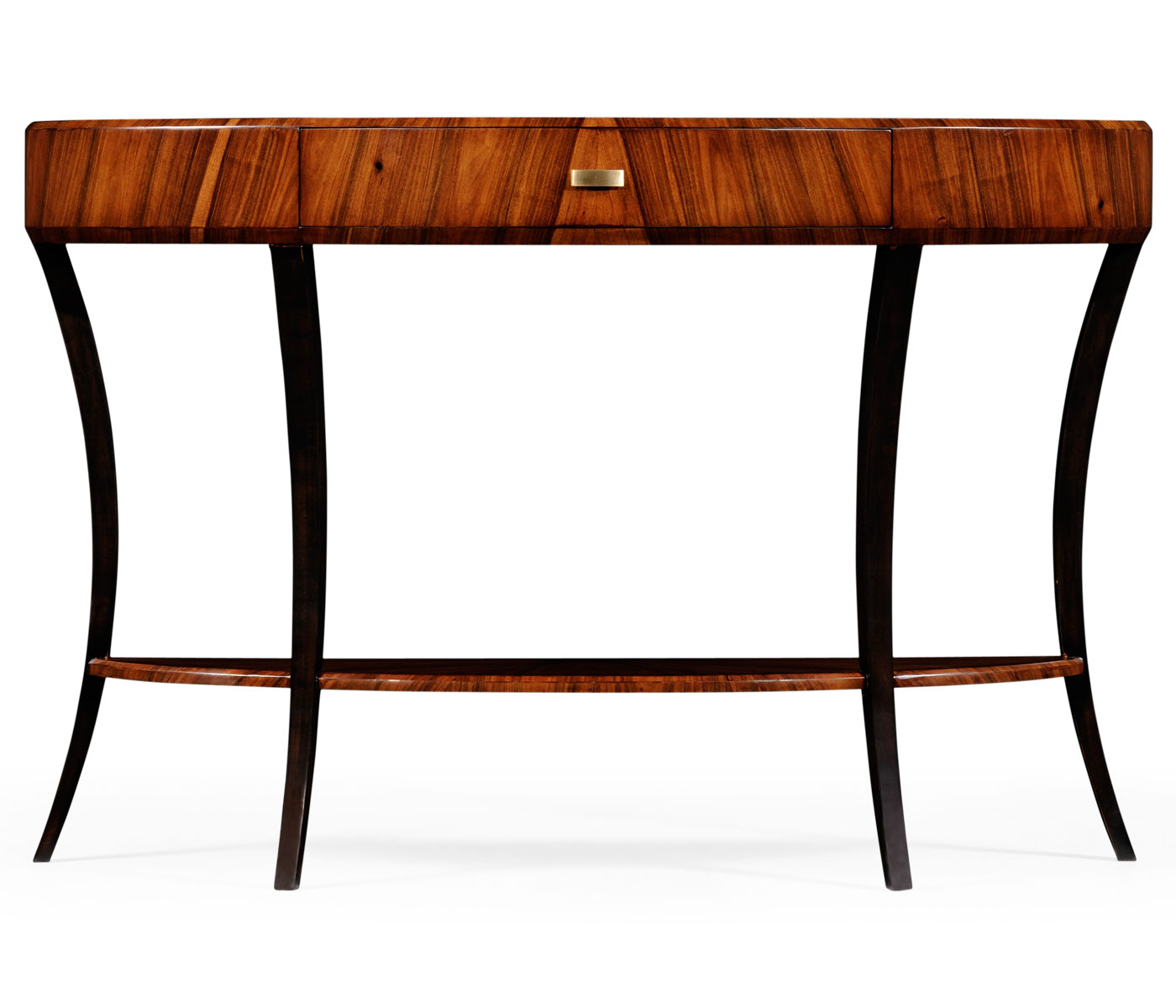 Art Deco Large Demilune Console Table With Drawer And Brass Handle (High  Lustre)