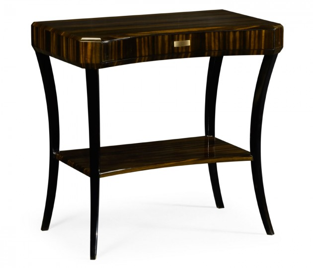 Rectangular Art Deco Macassar Ebony High Lustre Side Table with Drawer
