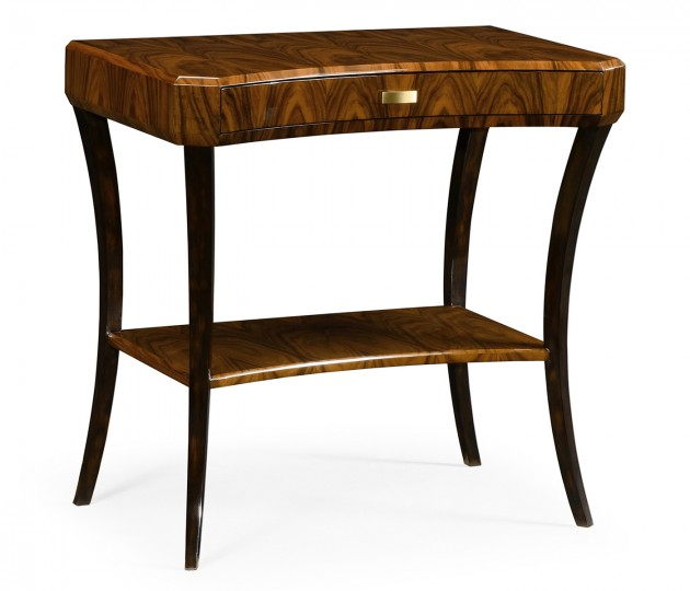 Art Deco High Lustre Rectangular Side Table with Drawer
