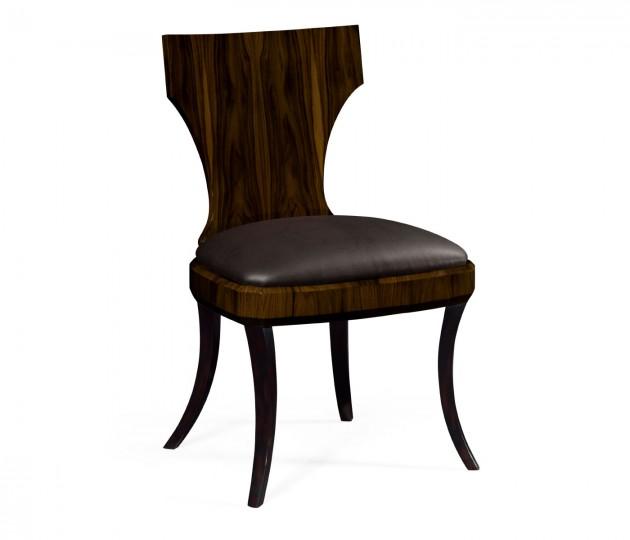 Art Deco Macassar Ebony High Lustre Klismos Chair, Upholstered in Dark Chocolate Leather