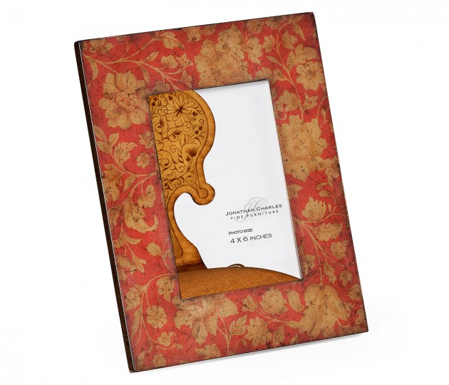 "4""x6"" Red Chinoiserie Picture Frame"