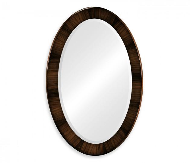 Oval Art Deco Macassar Ebony High Lustre Mirror