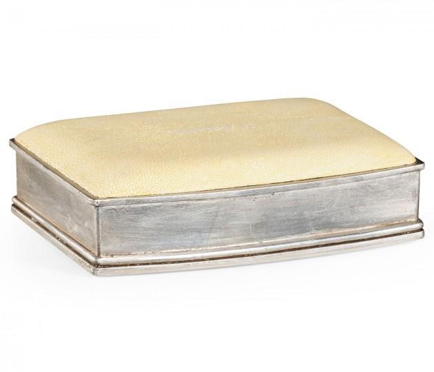 Faux Shagreen Silvered Box (Cream)