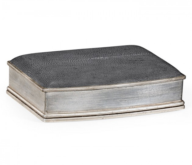 Anthracite Faux Shagreen Silver Leaf Box