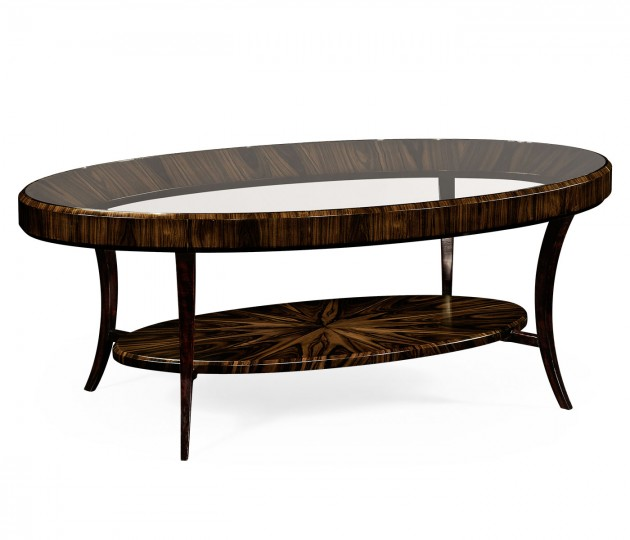 Oval Art Deco Macassar Ebony High Lustre Glass Topped Coffee Table
