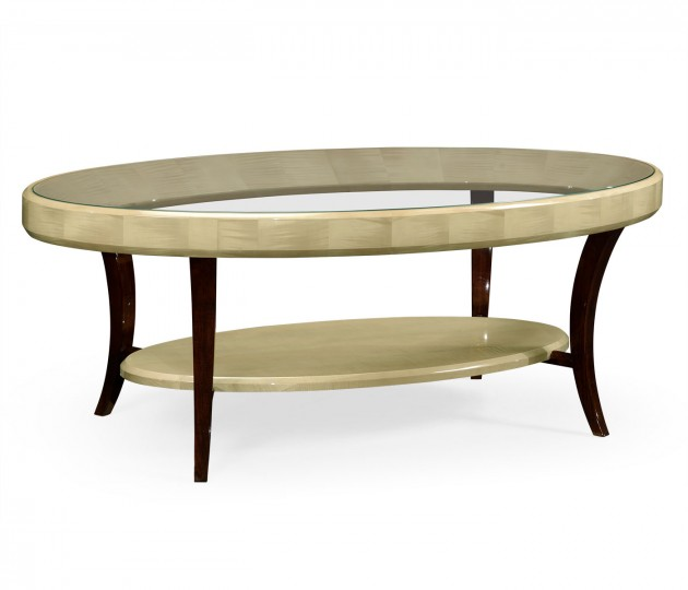 Art Deco Oval Glass Topped Coffee Table