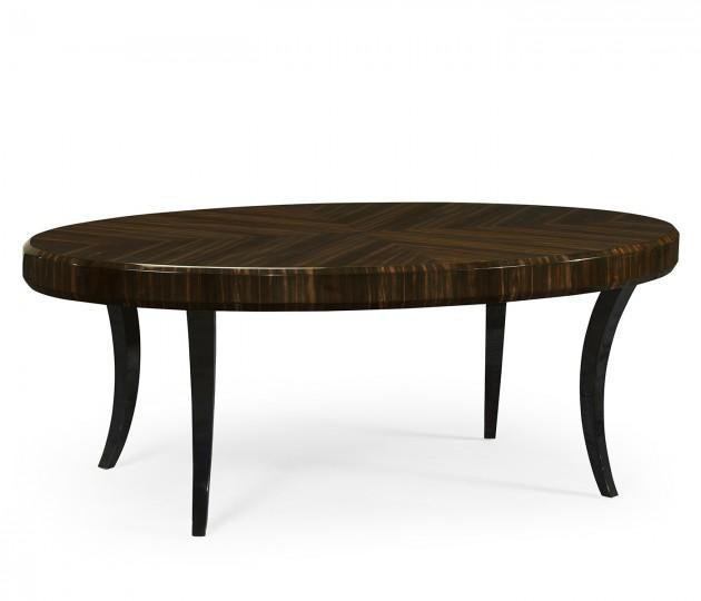 Oval Art Deco Macassar Ebony High Lustre Coffee Table