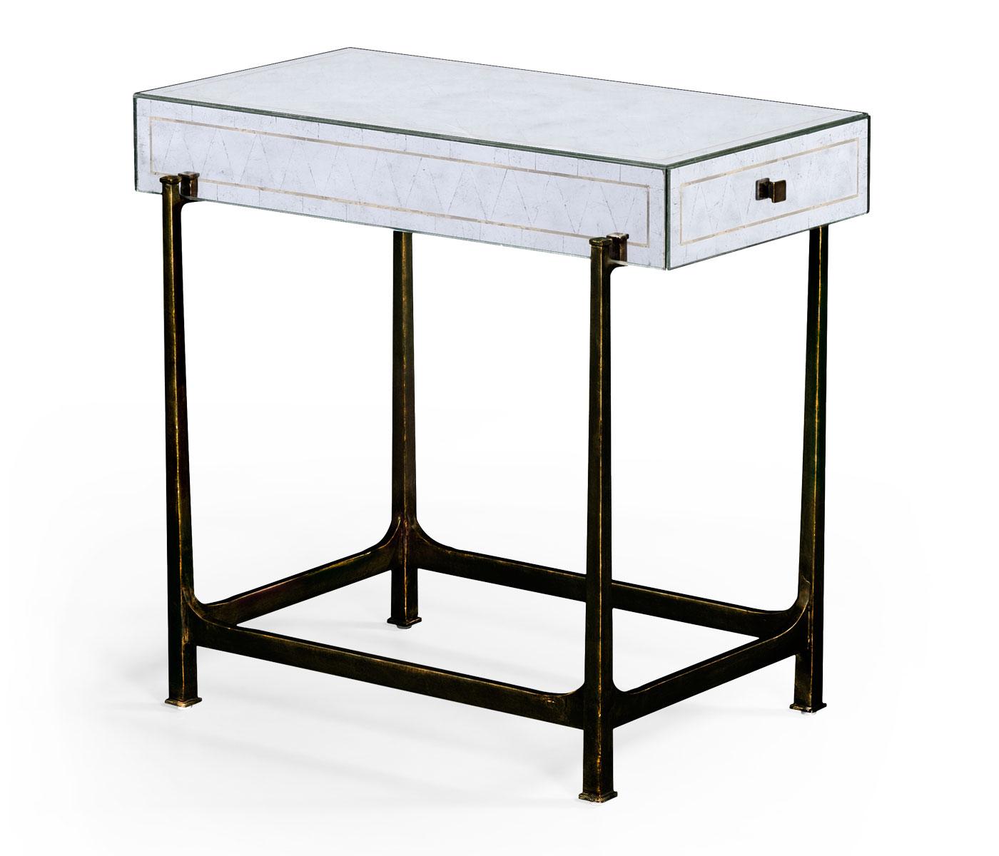 Églomisé U0026 Bronze Iron Box Top Side Table
