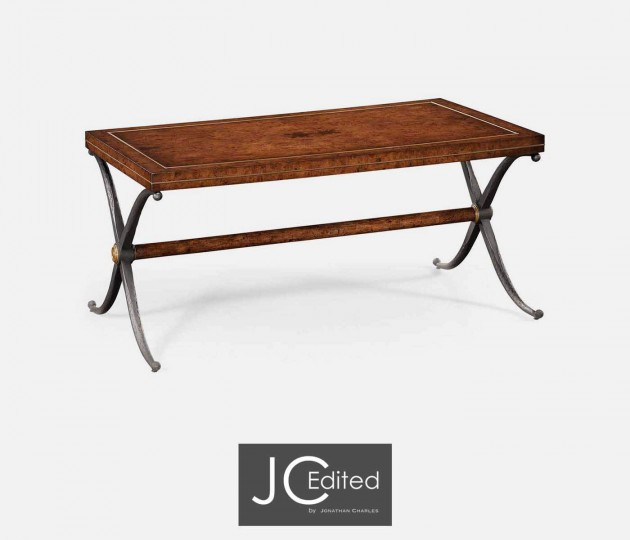 Rustic Burl Oak Hammered Iron Rectangle Coffee Table