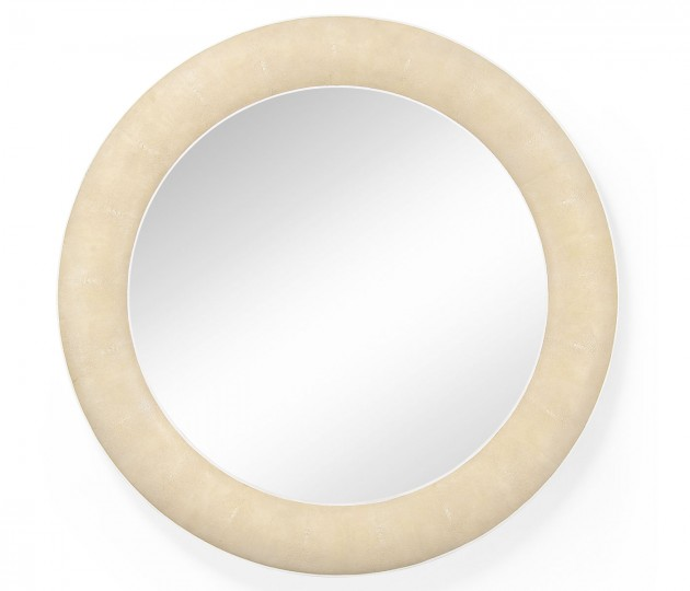 Cream Faux Shagreen Circular Mirror