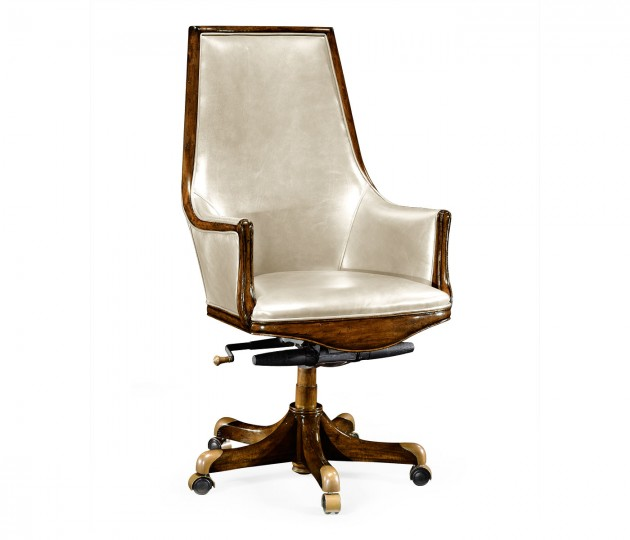 High Backed Walnut Office Chair, Upholstered in Embossed Cream Leather