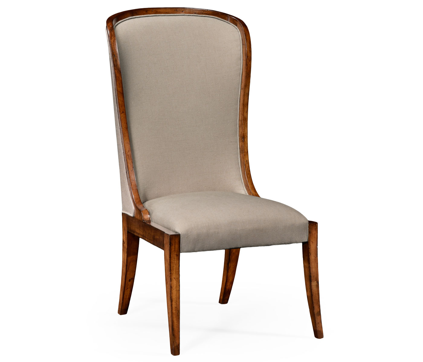 high curved back upholstered dining side chair
