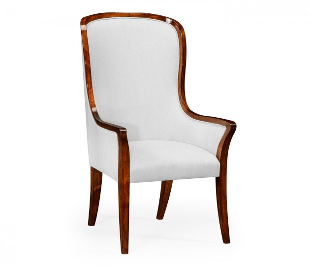 High Curved Back Upholstered Dining Armchair