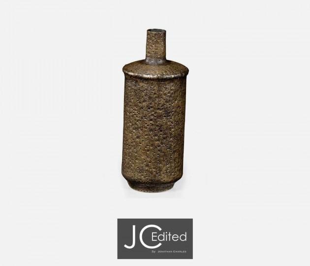 Tall Textured Brass Vase