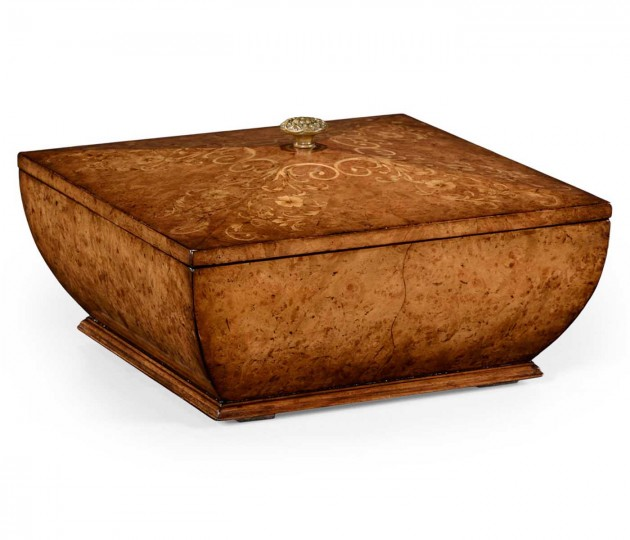 Burl Walnut Square Lidded Box with Brass Knob
