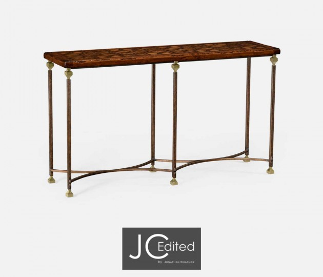 Argentinian Walnut Parquetry & Iron Console