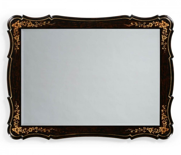 Black & Gilded Floral Rectangular Mirror