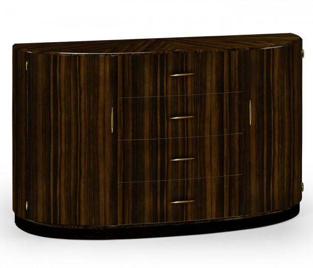 Demilune Art Deco Macassar Ebony High Lustre Sideboard