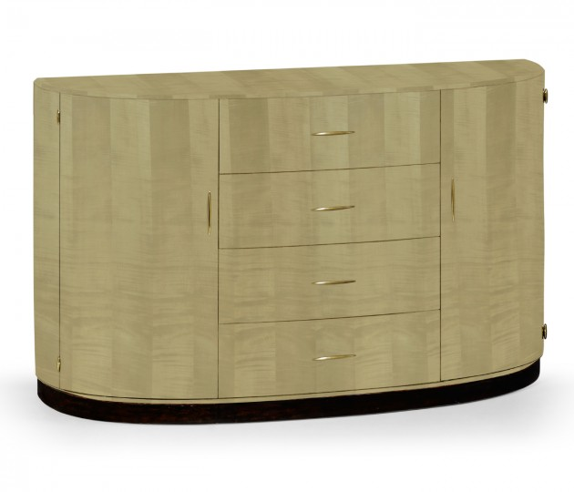 Art Deco Demilune Sideboard with Brass
