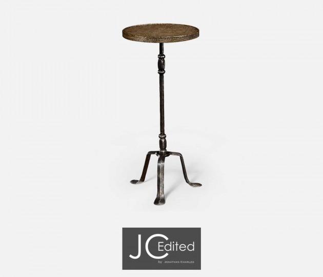Textured Brass & Iron Lamp Table