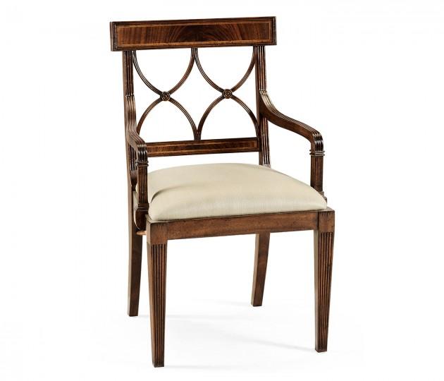Regency Mahogany Curved Back Arm Chair