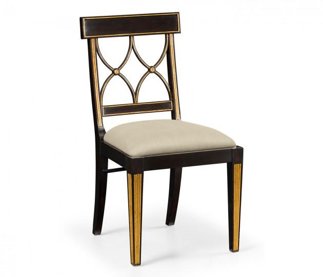 Regency black painted curved back chair (Side)