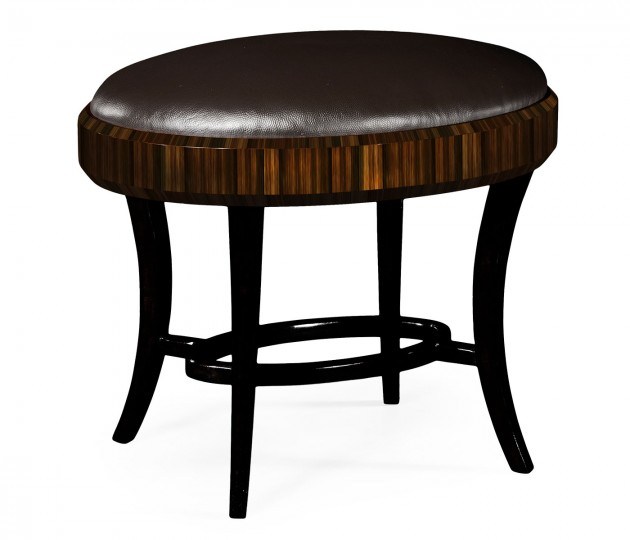 Rectangular Art Deco Macassar Ebony High Lustre Dressing Stool, Upholstered in Dark Chocolate Leather