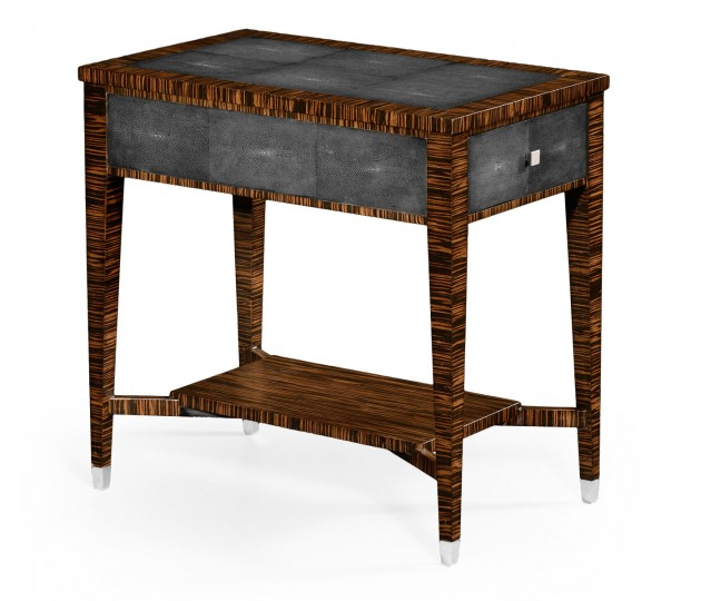Anthracite Shagreen Rectangular Side Table