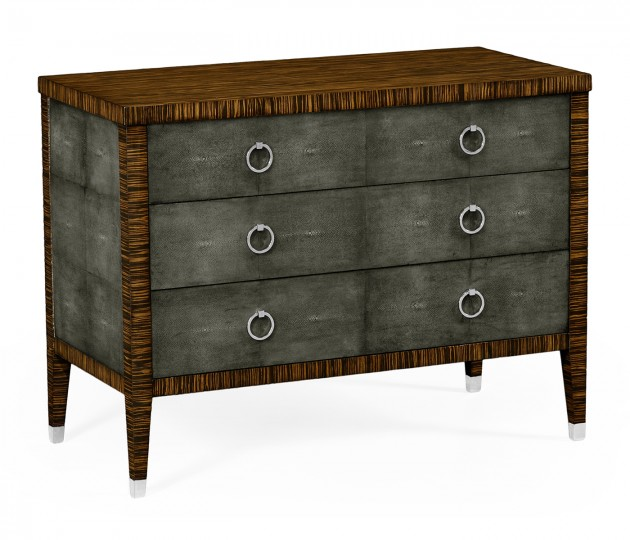 Faux Macassar Ebony & Anthracite Faux Shagreen 3–Drawers Chest of Drawers