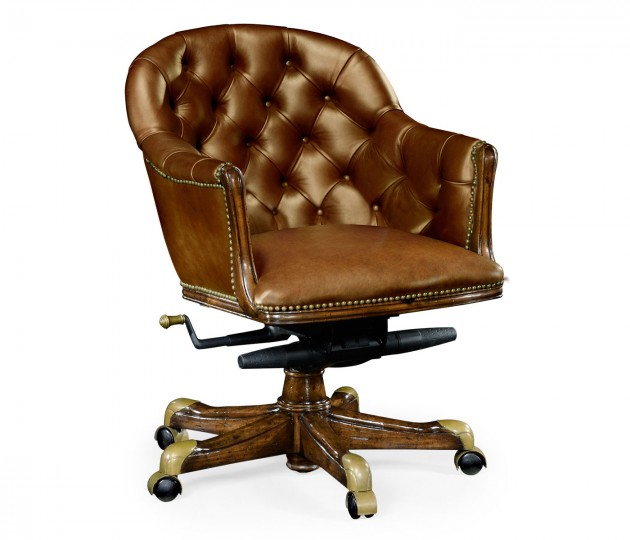 Chesterfield Style Walnut Office Chair, Upholstered in Antique Chesnut Leather
