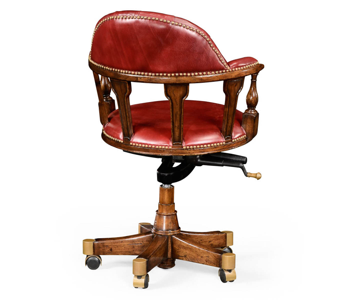 captain s style walnut office chair upholstered in rich red leather