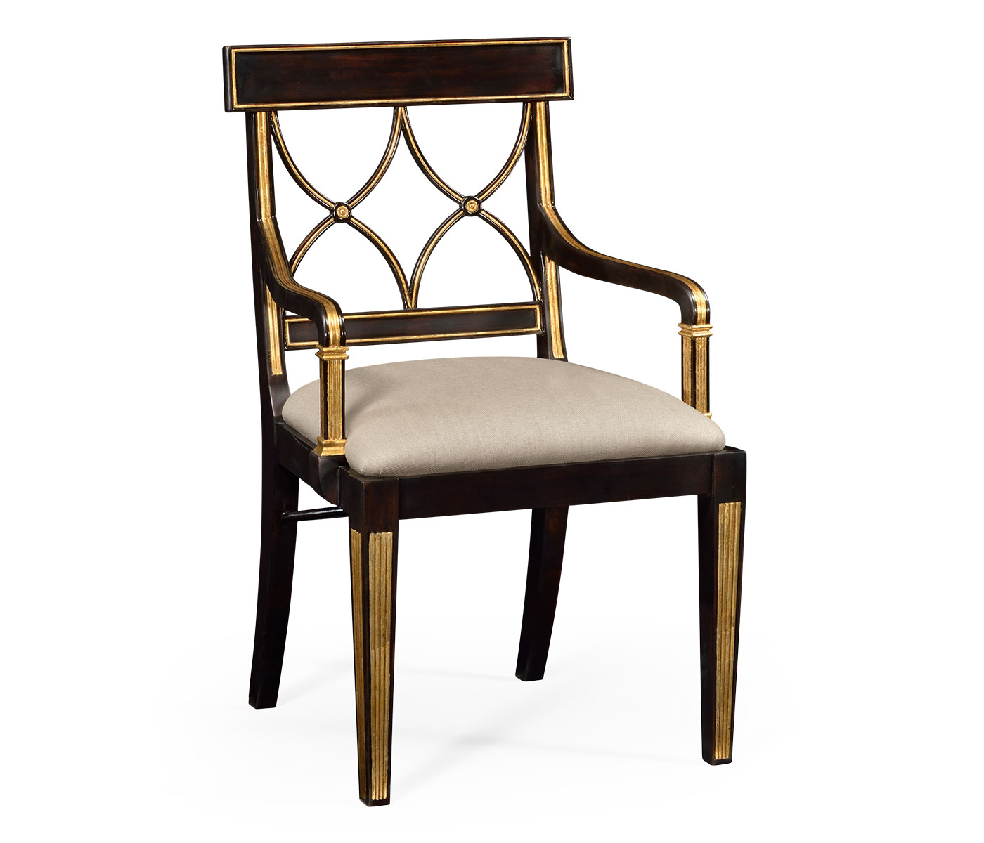 Superior Regency Black Painted Curved Back Chair (Arm)