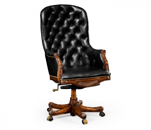 Chesterfield Style High Back Mahogany Office Chair, Upholstered in  Black Leather