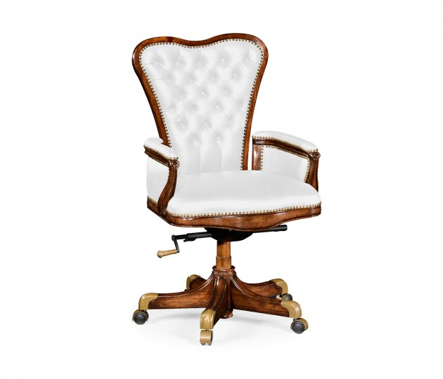 Double Lobed Walnut Office Chair, Upholstered in FCOM