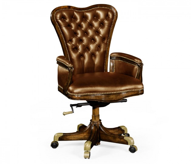 Double Lobed Walnut Office Chair, Upholstered in Antique Chestnut Leather