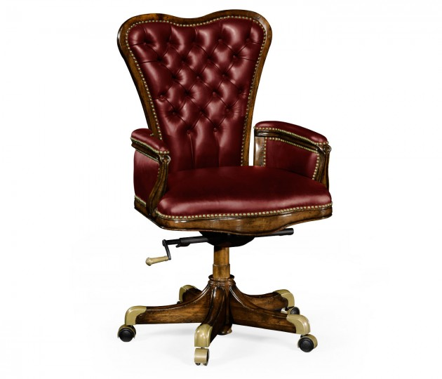 Double Lobed Walnut Office Chair, Upholstered in  Rich Red Leather