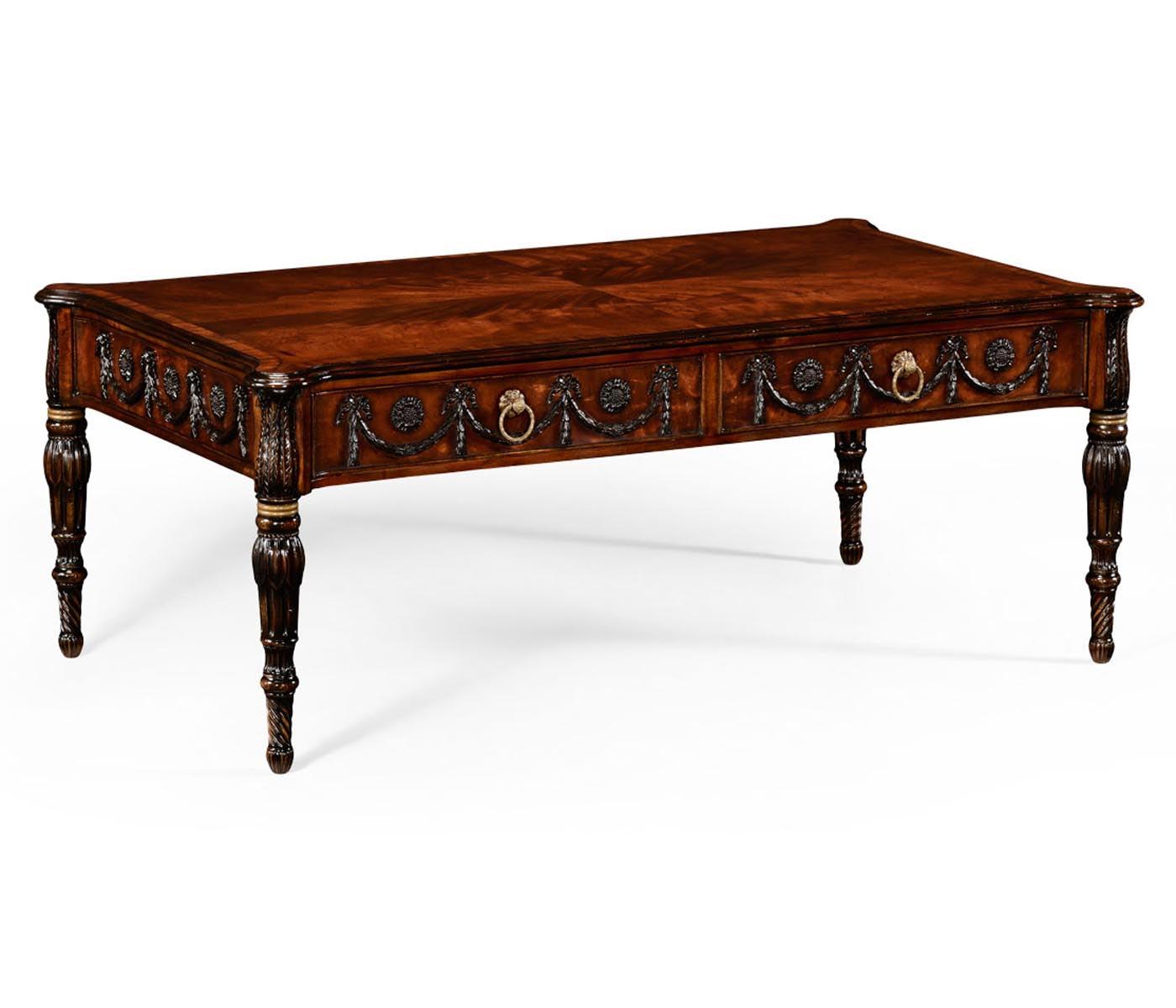 Neo Classical Adam Style Mahogany Coffee Table