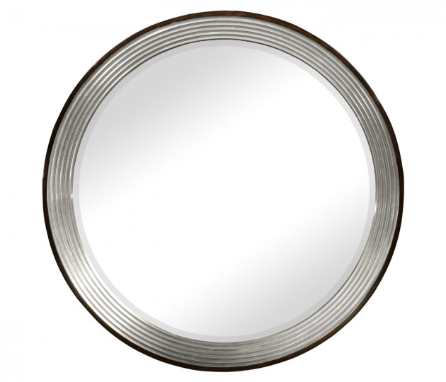 Contemporary Circular Recessed Silver Mirror