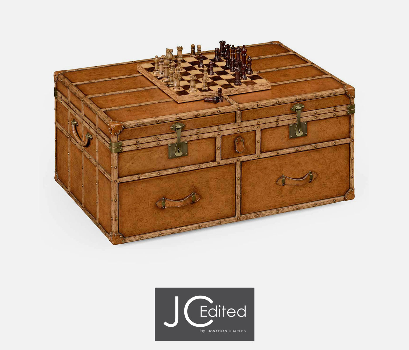 Travel trunk style coffee games table for Trunk style coffee table