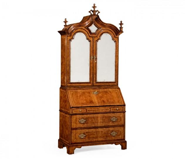 Queen Anne Walnut Bureau with Chinoiserie Interior & Mirrored Doors