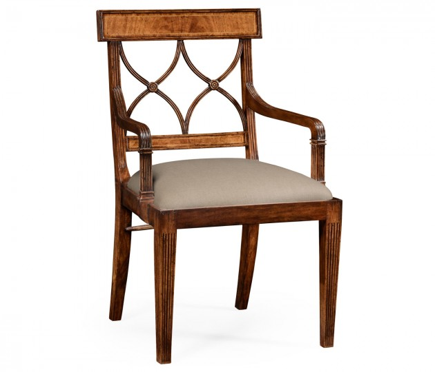 Regency Crotch Walnut Curved Back Armchair