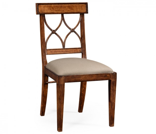 Regency Crotch Walnut Curved Back Side Chair