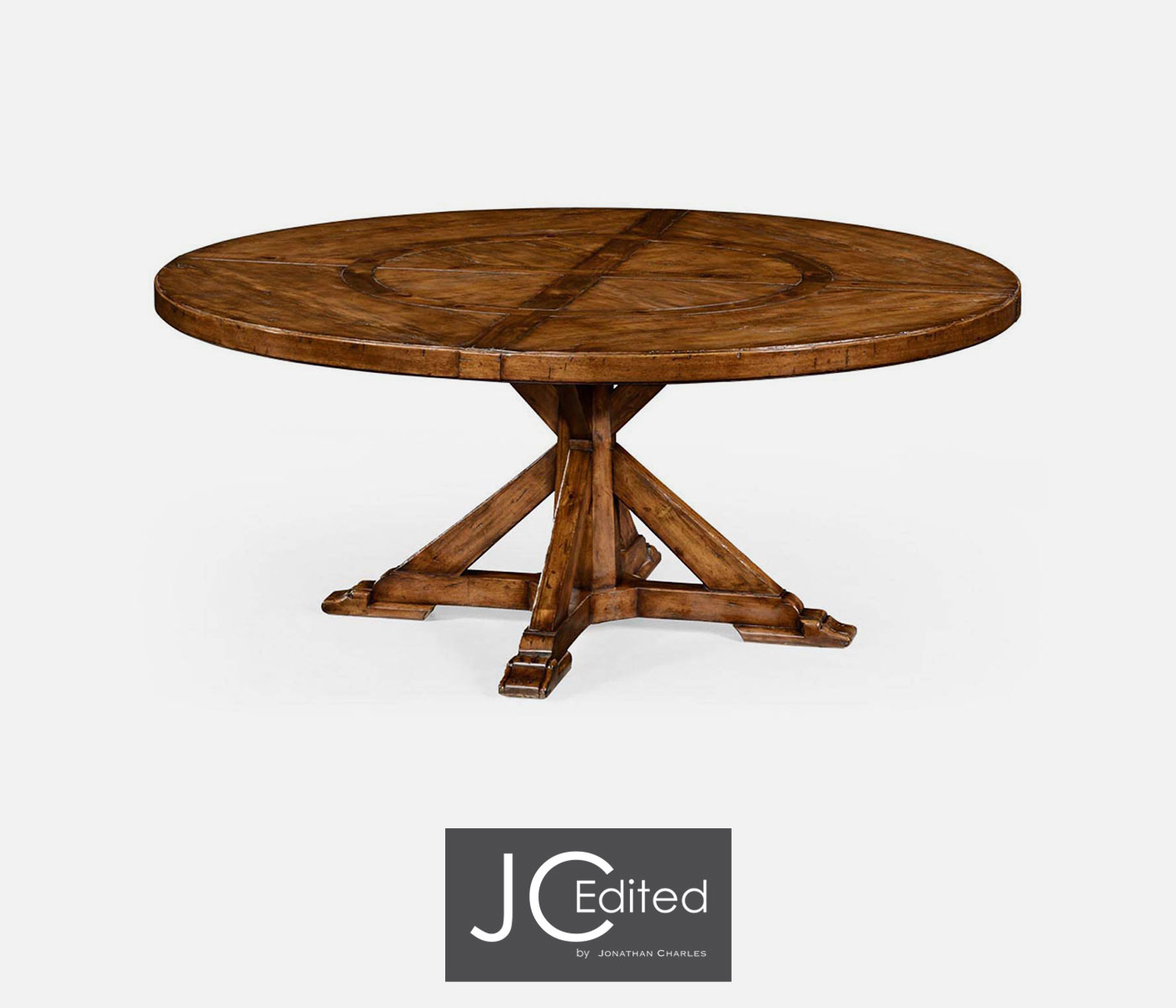 tables 72 country style walnut round dining table inbuilt lazy susan