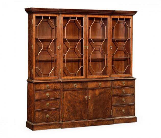 Triple Walnut Display Cabinet with Octagonal Glazing Bars