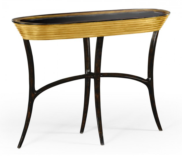 Stepped Gilded Oval Console