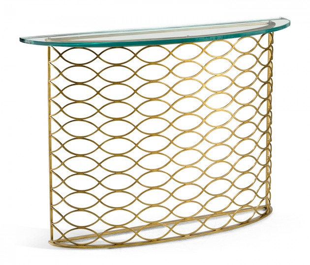 Interlaced Gilded & Glass Demilune Console