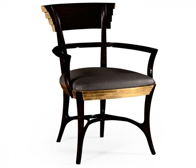 Stepped Gilded Dining Armchair, Upholstered in Dark Chocolate Leather