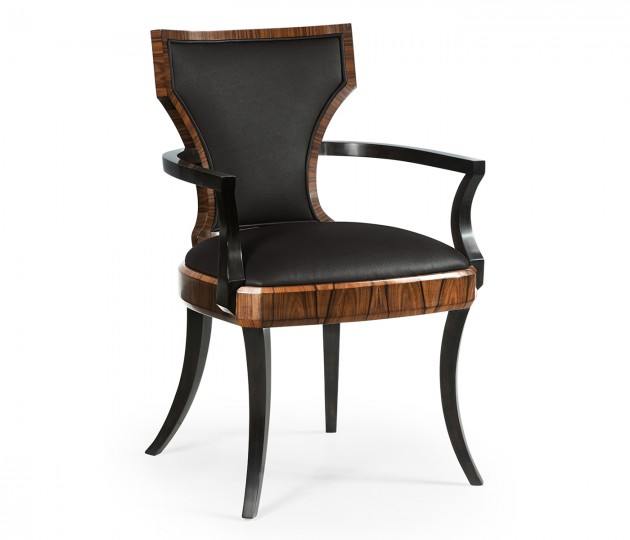 Art Deco Satin Santos Armchair, Upholstered in Dark Chocolate Leather