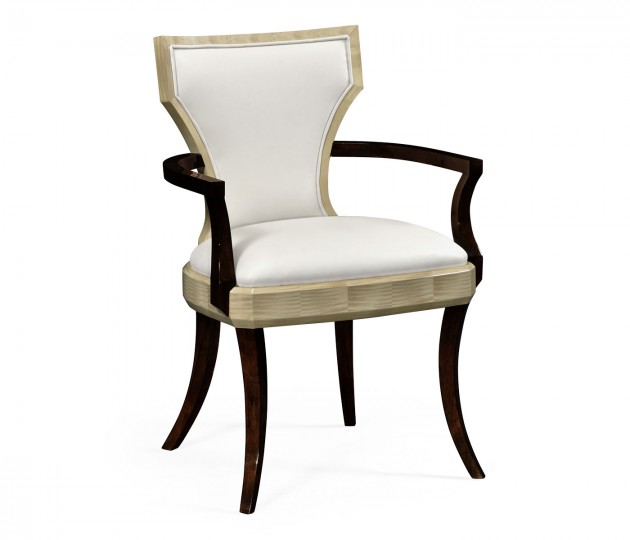 Art Deco Armchair, Upholstered in Cream Leather